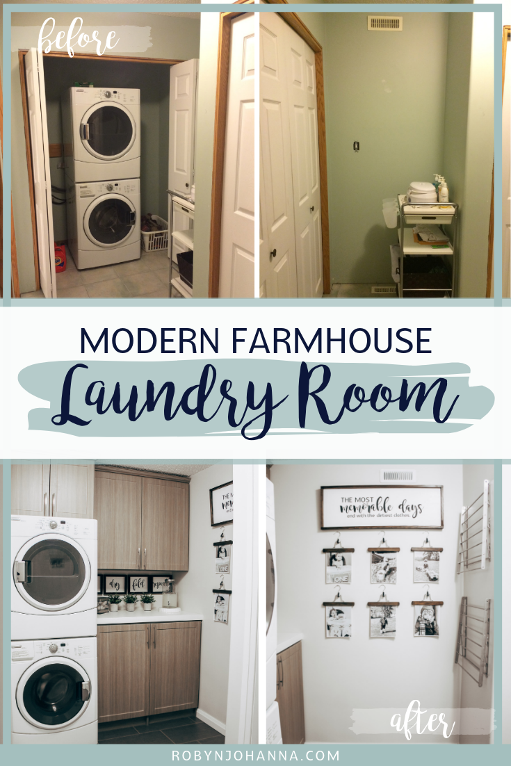 Interested in redecorating your laundry room for under $100? Our modern farmhouse laundry room makeover will inspire you to get started today! #ModernFarmhouseDecor #FarmhouseLaundryRoom #LaundryRoomMakeover #DIYLaundryRoom