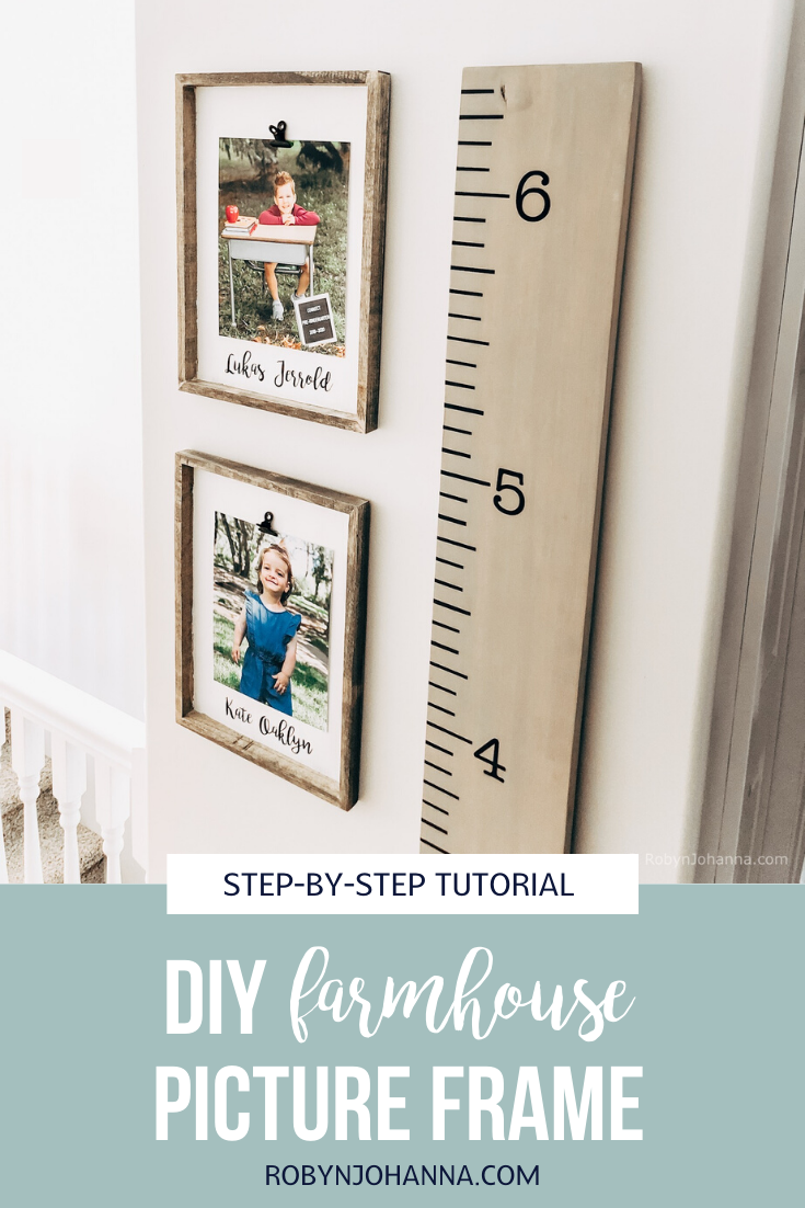 Looking for a farmhouse picture frame that's easy on the eyes and on your wallet? This step-by-step tutorial walks you through how to make your very own DIY farmhouse picture frame.  #homedecor #diy #farmhousestyle