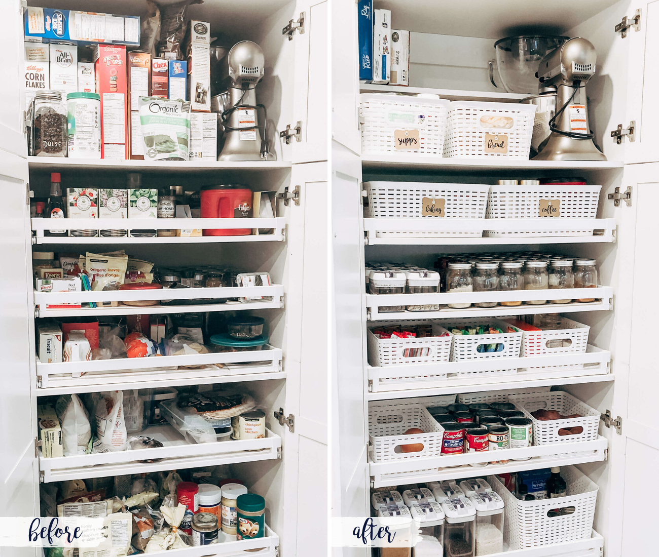 Having a hard time finding items in your pantry? Keep reading for my 5 simple steps on how to organize your pull out pantry.